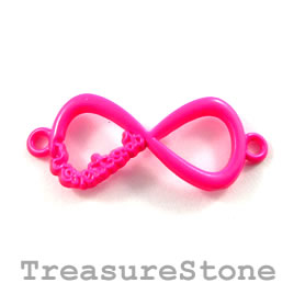 Pendant/connector, neon pink, 15x32mm infinity. Pkg of 2.