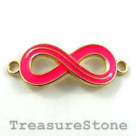Pendant/connector, pink gold, 13x30mm infinity. Pkg of 2.