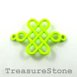 Pendant/connector, neon yellow, metal, 25x39mm knot. Pkg of 2.