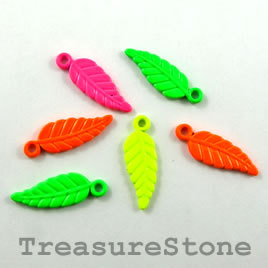 Charm, mixed color, metal, 7x16mm leaf. Pkg of 8.