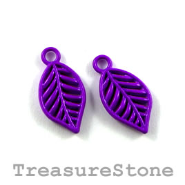 Charm, purple, metal, 10x16mm leaf. Pkg of 6.