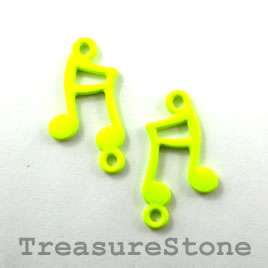 Charm/connector,neon yellow, metal, 12x15mm music note. Pkg of 6