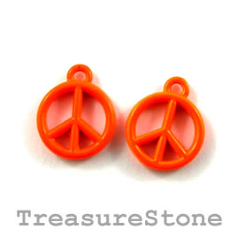 Charm, brilliant orange, metal, 13mm peace symbol. Pkg of 6.