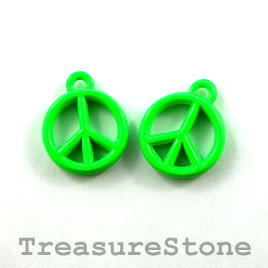 Charm, neon green, metal, 13mm peace symbol. Pkg of 6. - Click Image to Close