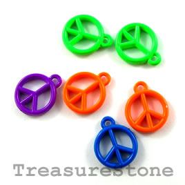 Charm, mixed color, metal, 13mm peace symbol. Pkg of 6. - Click Image to Close