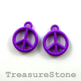Charm, purple, metal, 13mm peace symbol. Pkg of 6. - Click Image to Close