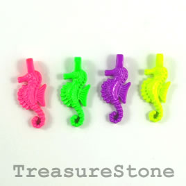 Pendant/charm, mixed color, 9x22mm seahorses. Pkg of 5.
