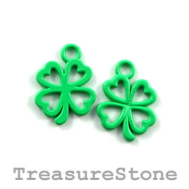 Charm, green, metal, 13mm shamrock/ 4-leaf clover. Pkg of 8.
