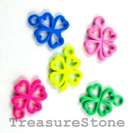 Charm, mixed, metal, 13mm shamrock/ 4-leaf clover. Pkg of 5.