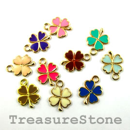 Charm, mixed color, metal, 12mm shamrock/4-leaf clover. Pkg of 5