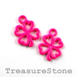 Charm, neon pink, metal, 13mm shamrock/ 4-leaf clover. Pkg of 8.
