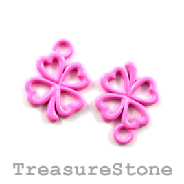Charm, pink,metal, 13mm shamrock/ 4-leaf clover. Pkg of 8.