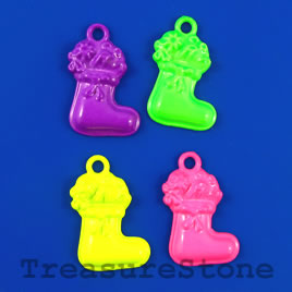 Pendant/charm, mixed color, 15x24mm stocking. Pkg of 4.