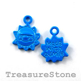 Charm, blue, metal, 13mm sun. Pkg of 6.