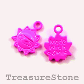 Charm, neon pink, metal, 13mm sun. Pkg of 6.