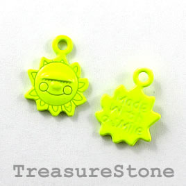Charm, brilliant yellow, metal, 10x17mm sun. Pkg of 6.