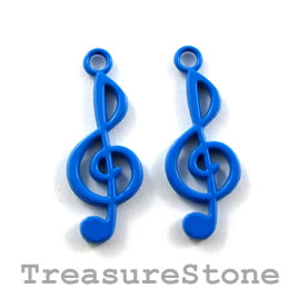 Charm, blue, metal, 10x22mm treble clef. Pkg of 5.