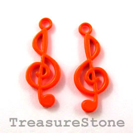 Charm, brilliant orange, metal, 10x22mm treble clef. Pkg of 5.