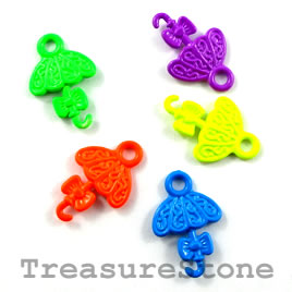 Charm, mixed color, metal, 14x17mm umbrella. Pkg of 5.