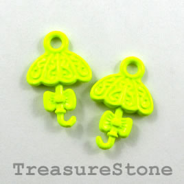 Charm, neon yellow, metal, 14x17mm umbrella. Pkg of 6.