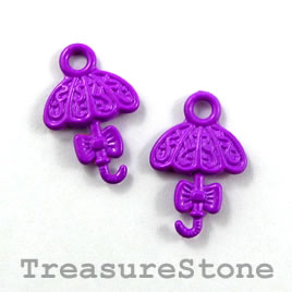 Charm, purple, metal, 14x17mm umbrella. Pkg of 6.