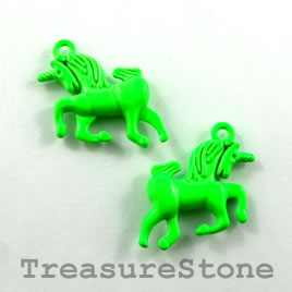 Charm, neon green, metal, 15x20mm unicorn. Pkg of 5.