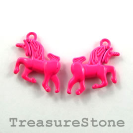 Charm, neon pink, metal, 15x20mm unicorn. Pkg of 5.