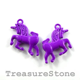 Charm, purple, metal, 15x20mm unicorn. Pkg of 5.