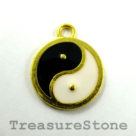 "Pendant, gold, 20mm ""yin yang"". Pkg of 2."