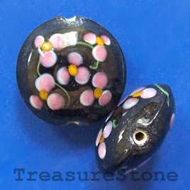 Bead, lampworkrf glass, black, 20x10mm puffed round. Pkg of 2.