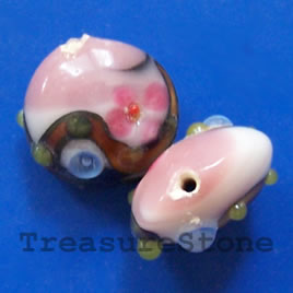 Bead, lampworked glass, 18x10mm puffed round. Pkg of 3.