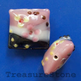 Bead, lampworked glass, 20x10mm puffed square. Pkg of 2.