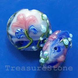 Bead, lampworked glass, 20x10mm puffed round. Pkg of 2.