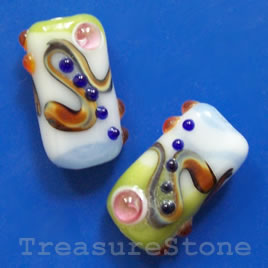 Bead, lampworked glass, 13x24x8mm. Pkg of 2.