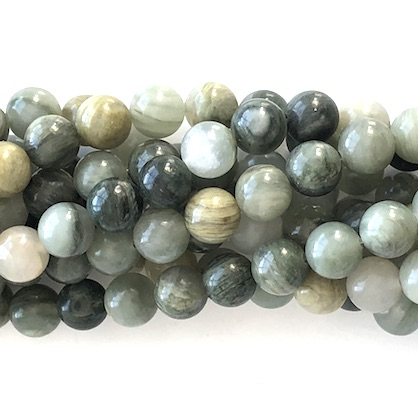 Bead, Grass Jasper, 8mm round. 15.5-inch, 46pcs