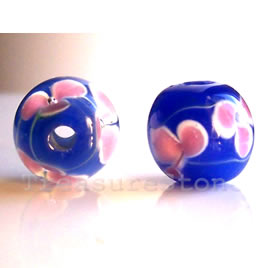 Bead, lampworked glass, blue, 11 mm round. Pkg of 8.