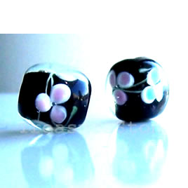 Bead, lampworked glass, black, 11 mm round. Pkg of 8.
