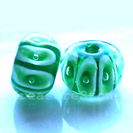 Bead, lampworked glass, green, 12x8 mm rondelle. Pkg of 8.