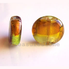 Bead, lampworked glass, 13x15x6 mm. Pkg of 6.