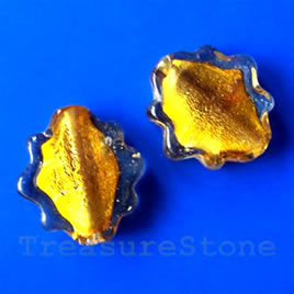 Bead, lampworked glass, gold, 21x26mm. Pkg of 5.