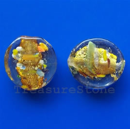 Bead, lampworked glass, 16x18x5.5mm. Pkg of 5.