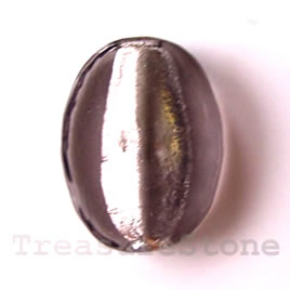 Bead, lampworked glass, grey, 21x28x6.5mm flat oval. Pkg of 5.