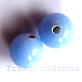 Bead, lampworked glass, blue, 10mm round. Pkg of 15.