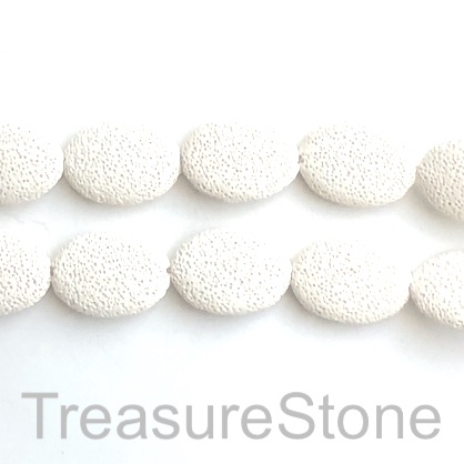 Bead, Lava, 25x34mm oval, white. 15.5-inch, 12pcs