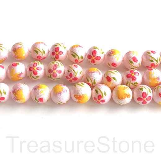 "A Bead,MOP,shell,10mm round,hand-painted, pink, flowers,16"",40"