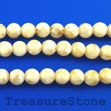 Bead, mother-of-pearl shell, dyed, cream, 8mm round. 16 inch