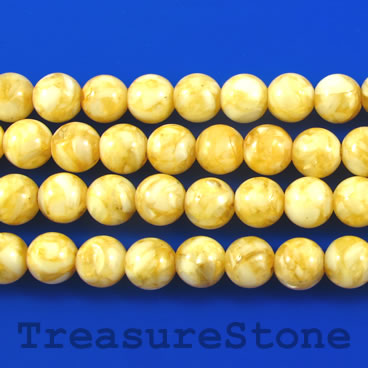 Bead, mother-of-pearl shell, dyed, yellow, 8mm round. 16 inch