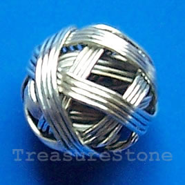 Bead, antiqued silver-finished, 13mm. Pkg of 10.