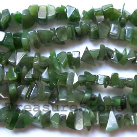 Bead, Nephrite Jade, chip large, about 10mm. 35-inch strand.