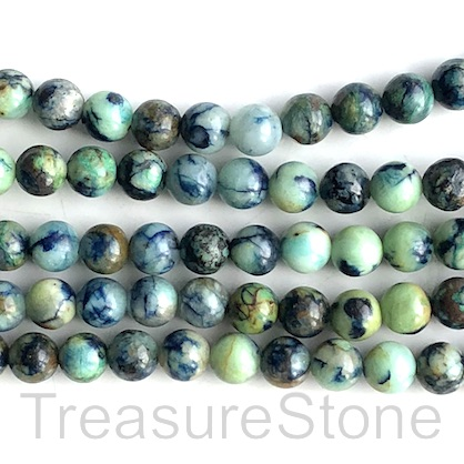 Bead, green, blue Opal, dyed, Round, 8mm. 15.5 inch, 50pcs